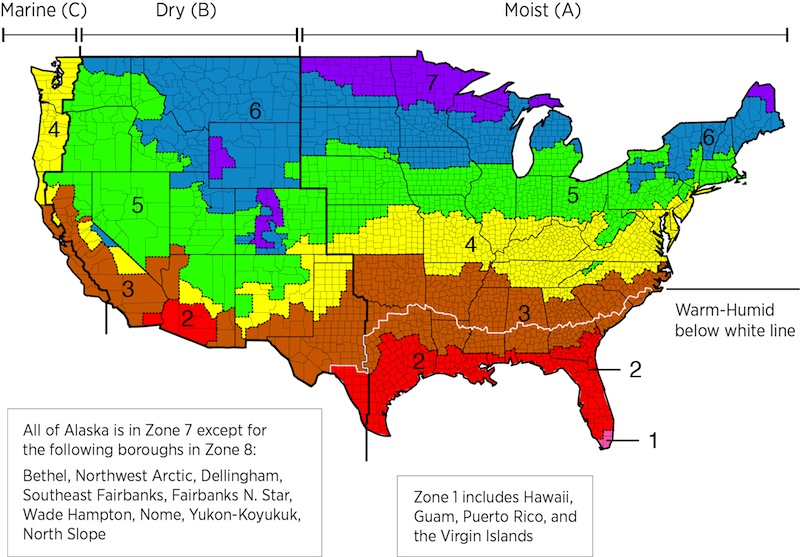 US map showing recommended R-Value levels by climate zone | Best Choice Home Inspections