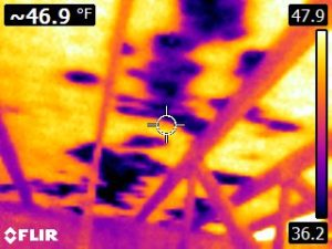 Here is an IR image of moisture on the underside of a roof not visible with the naked eye.